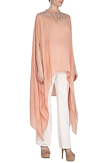 Peach Embroidered Cape Kurta With White Pants by Cushy