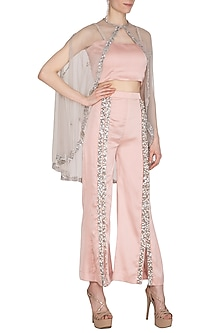 Peach Embroidered Flared Pants With Bustier & Cape by Cushy