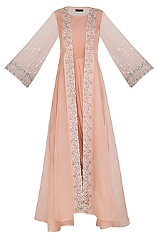 Blush Pink Embroidered Flared Jacket With Dhoti Style Inner by Cushy