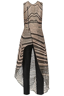 Black and Gold Colorblock Long Top and Pants Set