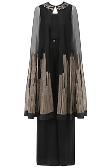 Black and Gold Embroidered Cape, Inner and Pants Set