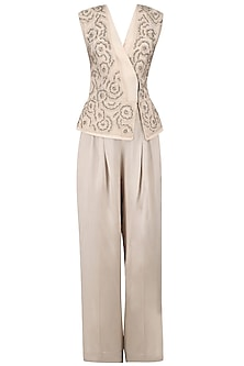 Beige Cutdana Embellished Jacket and Trousers Set
