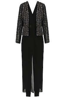Black Sequins Embellished Jacket and Trousers Set