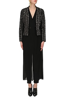Black Sequins Embellished Jacket and Trousers Set by Rohit Gandhi & Rahul Khanna
