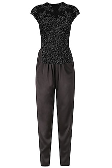 Black Sequins Embellished Top and Charcoal Trousers Set