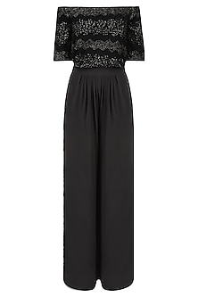 Black Cutana Embellished Top and Charcoal Wide Legged Trousers Set
