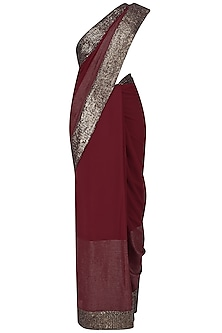Red Sequins Embroidered Sari with Embroidered Blouse