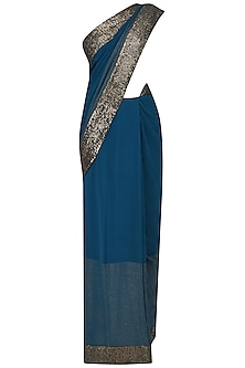 Blue Sequins Embroidered Sari with Embroidered Blouse