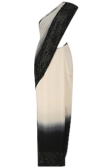 Black and White Ombre Sari with Sleeveless Blouse