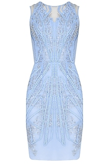 Light Blue Sequins Embroidered Sleeveless Dress