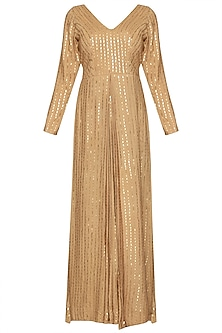 Dull gold embroidered gown by CUSHY