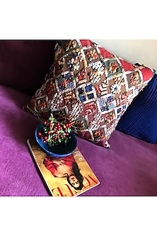 Multicolor Textured Cushion Cover by Karmadori