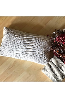Off White Textured Cushion Cover by Karmadori