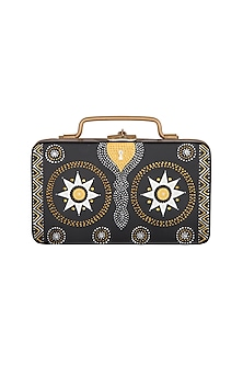 Black & Gold Hand Painted Trunk Sling Clutch by Crazy Palette