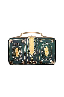 Dark Green & Gold Hand Painted Trunk Sling Clutch by Crazy Palette