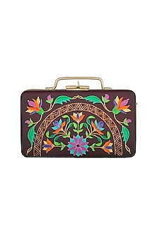 Purple & Gold Hand Painted Floral Trunk Sling Clutch by Crazy Palette