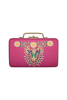 Pink & Gold Hand Painted Trunk Sling Clutch by Crazy Palette