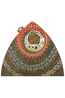 Brown Wooden Triangle Aztec Clutch by Crazy Palette
