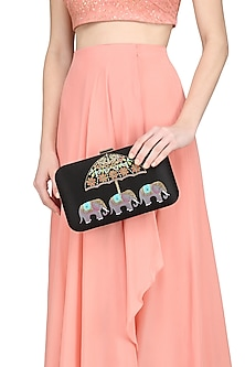 Black Elephant Motif Clutch by Crazy Palette