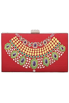 Red Hand Painted Clutch by Crazy Palette