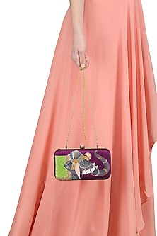 Purple Elephant Motif Clutch