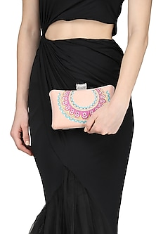 Peach Handpainted Clutch by Crazy Palette