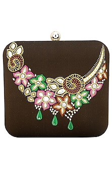 Brown Floral Necklace Clutch by Crazy Palette