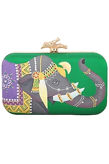 Green Elephant Motif Clutch by Crazy Palette