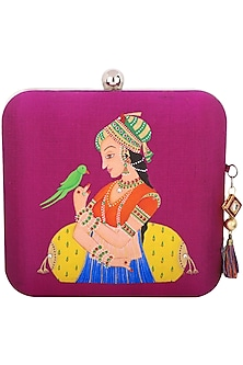 Magenta Queen Motif Clutch by Crazy Palette