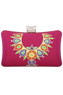 Pink Handpainted Clutch by Crazy Palette