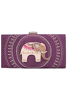 Purple Hand Painted Elephant Clutch by Crazy Palette