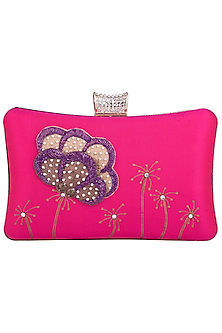Pink Hand Painted Flower Clutch by Crazy Palette
