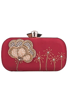 Maroon Hand Painted Flower Clutch by Crazy Palette