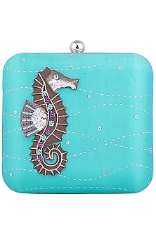 Teal Hand Painted Sea Horse Clutch by Crazy Palette