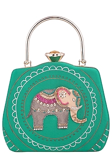 Green Hand Painted Elephant Clutch by Crazy Palette