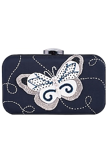 Blue Hand Painted Butterfly Clutch by Crazy Palette
