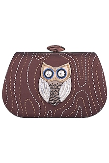 Brown Hand Painted Owl Clutch by Crazy Palette