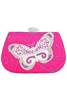 Pink Hand Painted Butterfly Clutch by Crazy Palette
