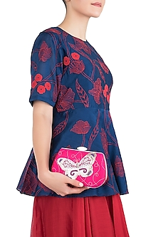 Pink Hand Painted Butterfly Clutch