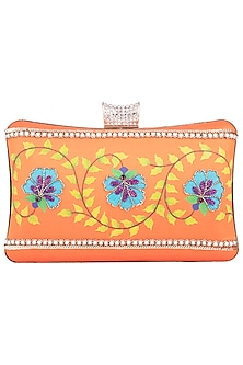 Orange Hand Painted Floral Vine Clutch by Crazy Palette