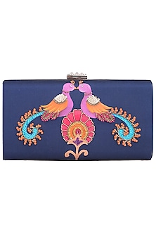 Blue Hand Painted Kalamkari Peacock Clutch by Crazy Palette