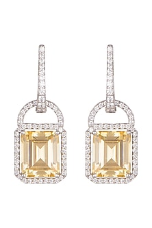 White Finish Yellow Swarovski Zirconia Earrings by Diosa Paris