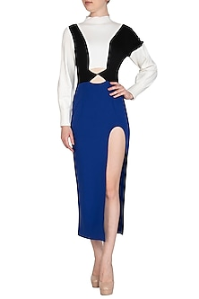 Blue High Neck Paneled Dress by Sameer Madan