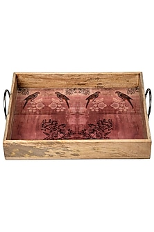 Pink & Brown Wooden Tray With Enamel Finish   by Artychoke