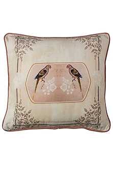 Pink & Beige Parrot Canvas Cushion Covers (Set of 2) by Artychoke