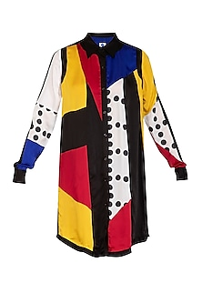 Multi Colored Printed Shirt Dress by Sameer Madan