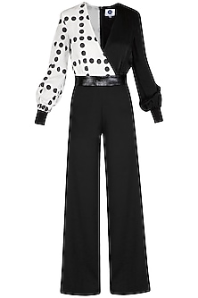Black Monochrome Printed Jumpsuit by Sameer Madan
