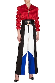 Black Color Blocked High-Waisted Pants by Sameer Madan