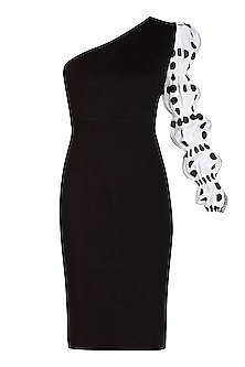 Black Printed One Shoulder Bodycon Dress by Sameer Madan