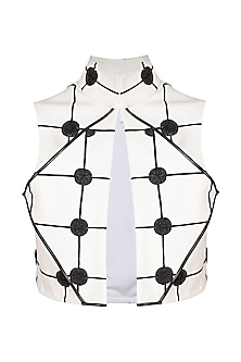 White Checkered & Embroidered Crop Jacket by Sameer Madan